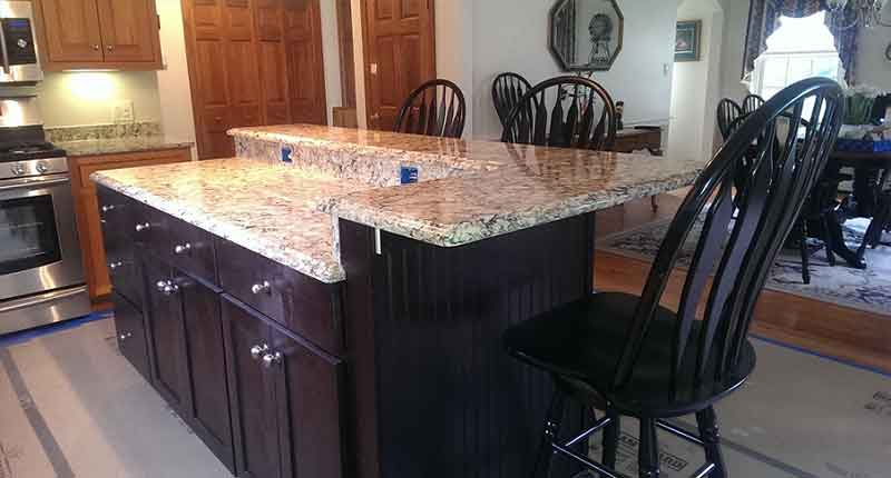 Granite countertop overhang support brackets How to support granite overhang